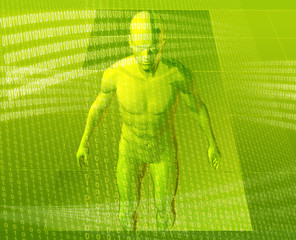 Virual avatar body surrounded by digital information