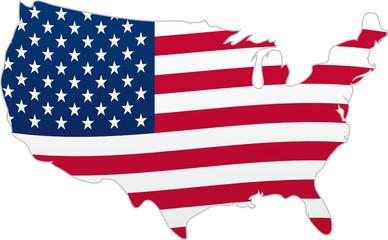 Carte des Etats-Unis d'Amérique avec drapeau