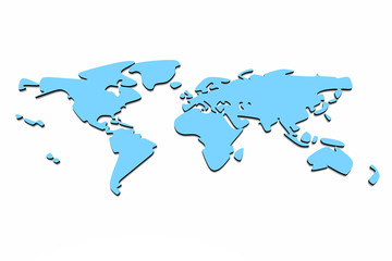 Earth map isolated in white background..