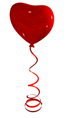 red heart balloon on ribbon, isolated on white