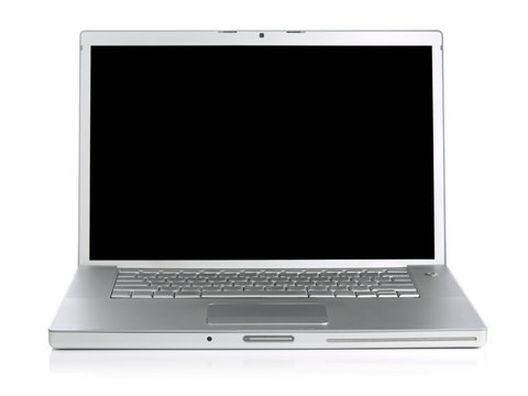 Wide screen silver laptop computer over a white background.
