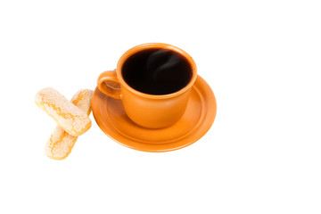 coffee and shortcakes isolated on the white background