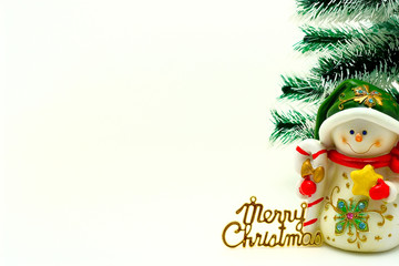 Cristmas card with snowman and cristmas-tree