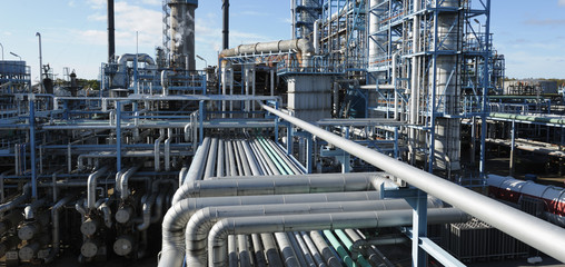 oil refinery in panoramic perspective