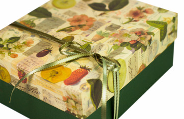 closeup of green gift box with bow