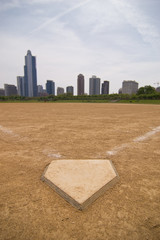 A softball field near downtown