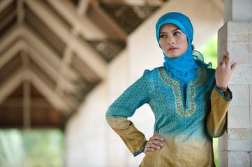 beautiful muslim woman in mosque