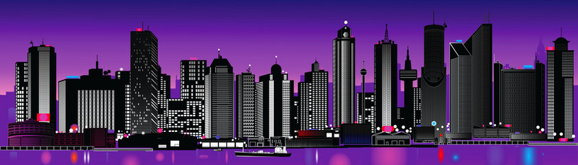 illustration of a very detailed city skyline at night