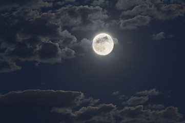 moon at night with a cloudy sky.