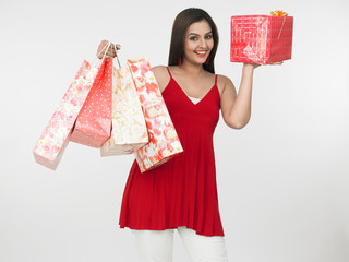young beautiful asian woman on a shopping spree