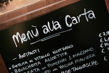 Handwritten menu sign. Blackboard outside italian restaurant