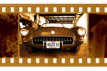old frame photo with retro chevrolet corvette in route 66,USA