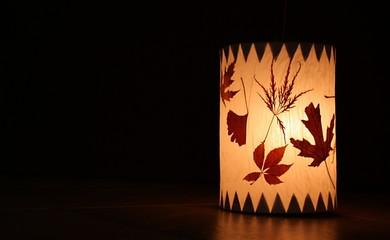 Laterne mit Blättern Fotomurales