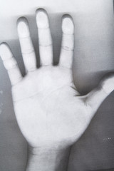 Black and white Photocopy of hand