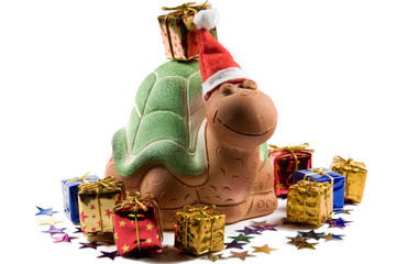 Christmas turtle with stars