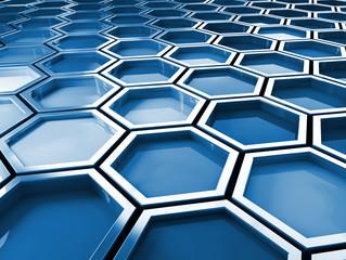 fine image 3d of blue tone hexagon background