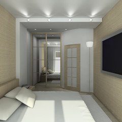 Modern design interior of bedroom. 3D render