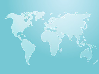 Map of the world illustration, simple outline on gradient color