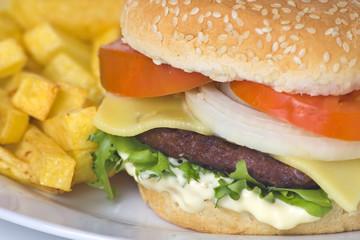 juicy hamburger meat lettuce tomato and onion mayonnaise