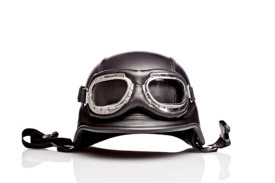 old-style us army motorcycle helmet with goggles