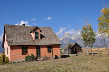 old house and barn in grand tetons on mormon road