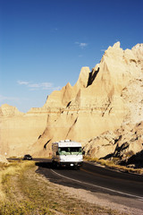 Vacationing in a recreational vehicle in the Badlandsl Park.