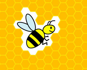 flying bee on honeycomb background