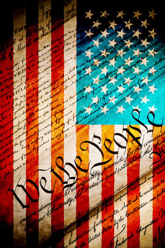 we the people - United States Constitution - grunge with US flag