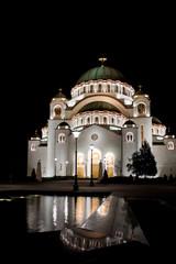 Temple of Saint Sava by night
