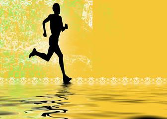 a rummer running along water