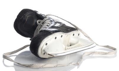 black mens hockey skate isolated on white background