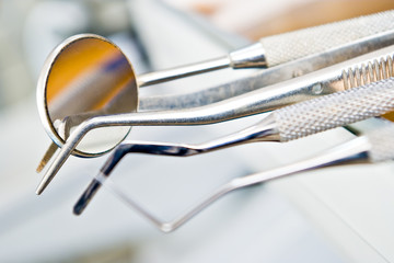 dentist's instruments with shallow depth of field