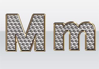 ラインストーンのアルファベット M