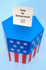 Ballot box with Vote for Democracts voting card