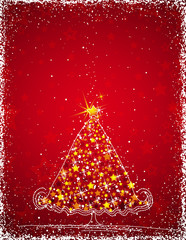 christmas tree  on the red background,illustration