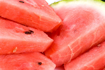 Background of brightly lwatermelon slices..