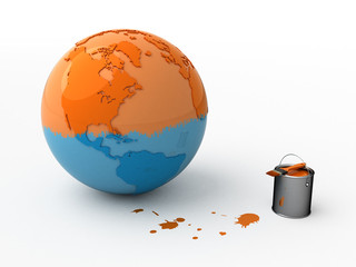 Orange-blue globe and orange paint. Isolated.