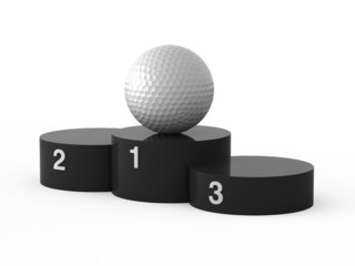 Isolated black podium and golf ball.