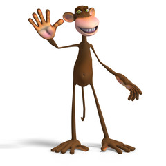 Render of a funny Toon Monkey with Clipping Path