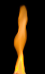bright flame over black background