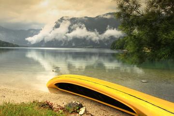The Boat on the Bohinj Lake's Bank, Slovenia