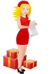 Fille du père Noël et sa liste de cadeaux (détouré)