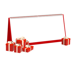 Calendar and gifts of red color