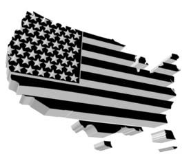 Etats Unis en noir et blanc 3d