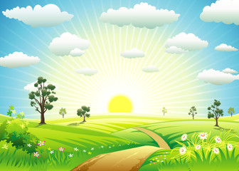 Sunny Meadow landscape of vector illustration layered.