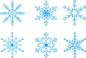 Set of simple vector snowflakes