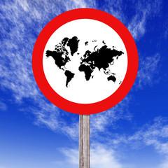 Señal de trafico - Mapa del Mundo