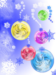 illustration of the New Year's balls with snowflakes