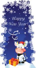 Vector New year card with bull