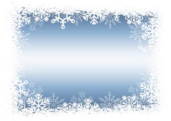 Celebratory Christmas blue background with snowflakes.